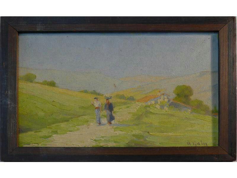 Hippolyte Marius GALY (1847-1929) Couple basque sur le chemin