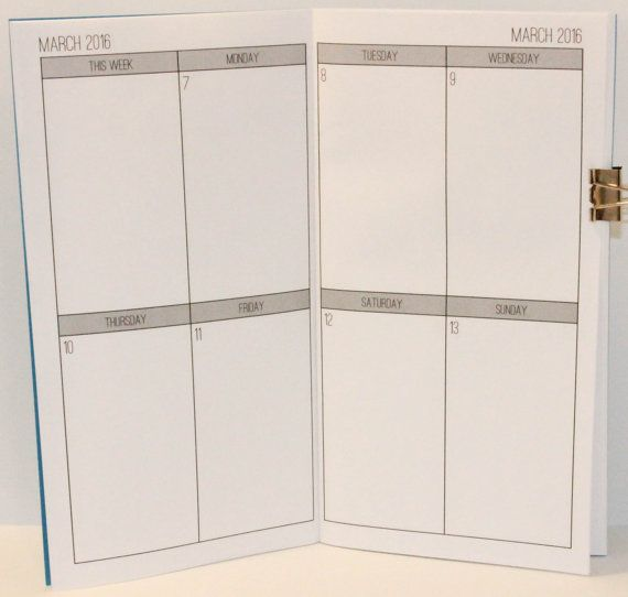 2016 Weekly Planner {Passport Size} Printable Traveler's Notebook Insert Booklet // SUNDAY & MONDAY INCLUDED