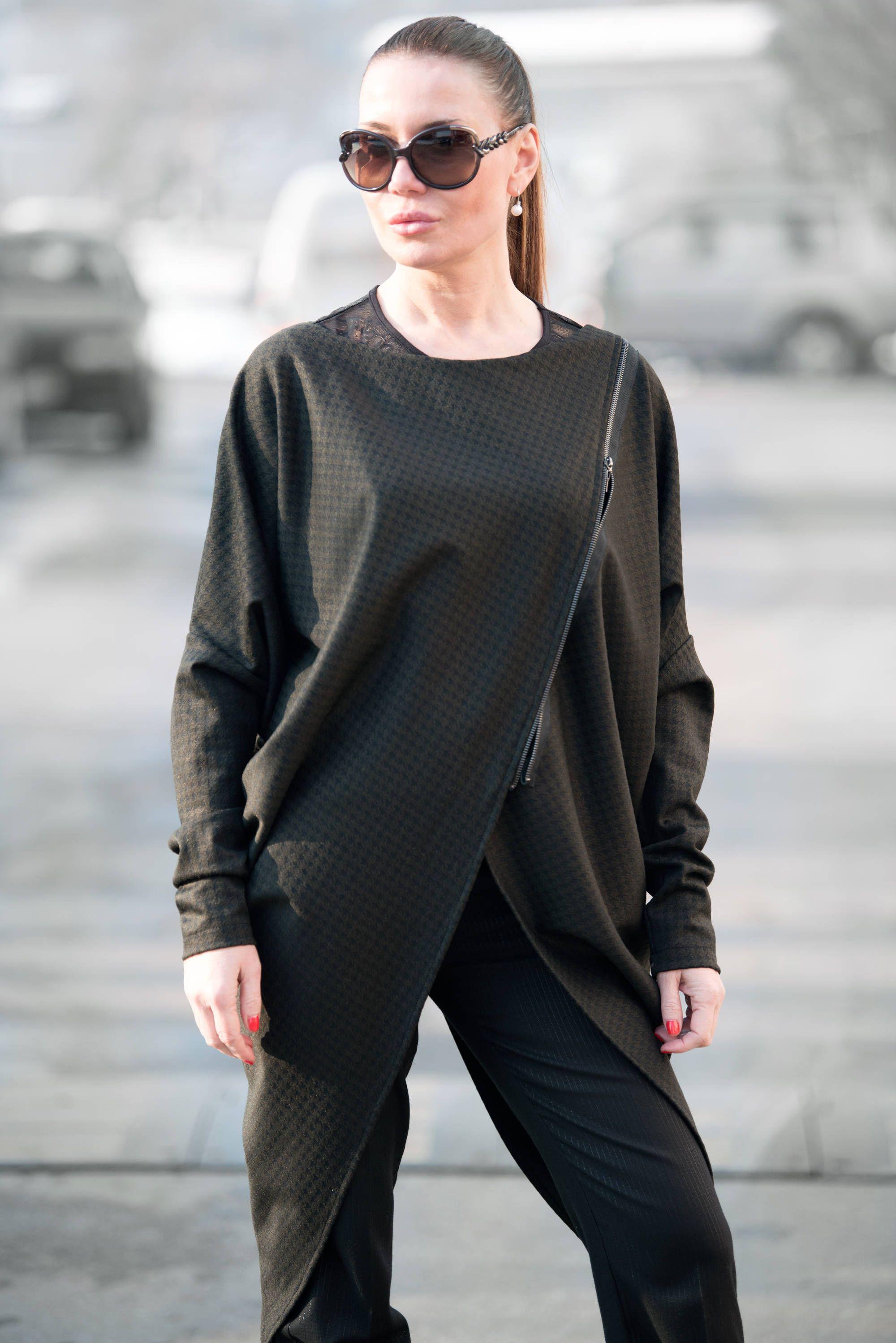 Cotton zipper tunic extravagant thick cotton tricot top long plaid