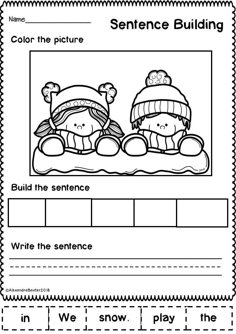 This Resource Is A Selection Of 10 Sentence Building Sentence Scramble Worksheets Des Sentence Building Writing Sentences Kindergarten Christmas Kindergarten [ 1126 x 794 Pixel ]