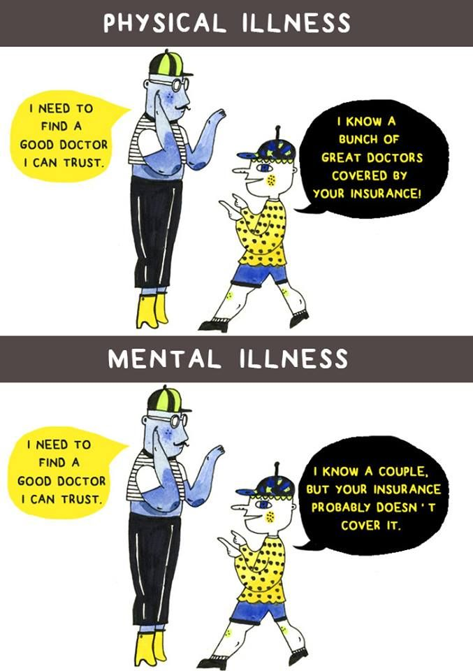 Physical Vs Mental Illness Illustration I Need To Find A Good Doctor