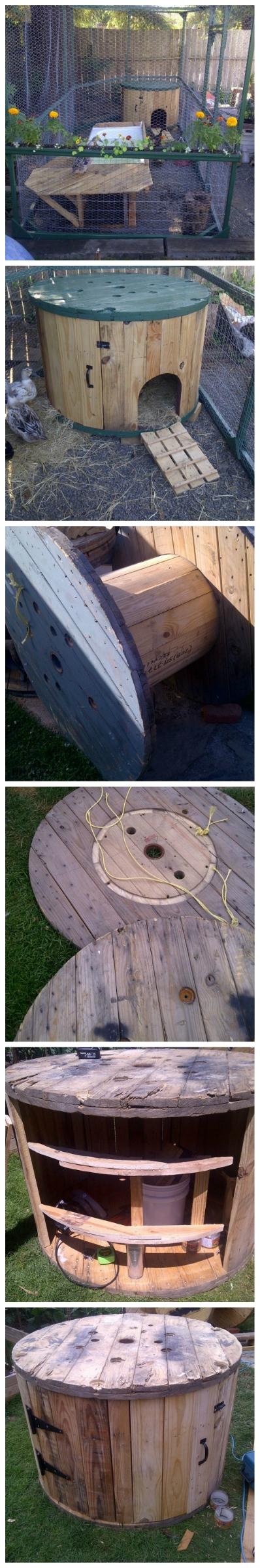 Diy Cable Spool Duck House Diy Diy Chicken Coop
