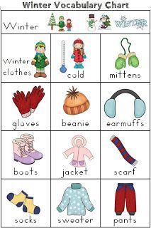 winter clothes names Buscar con Google English class Pinterest