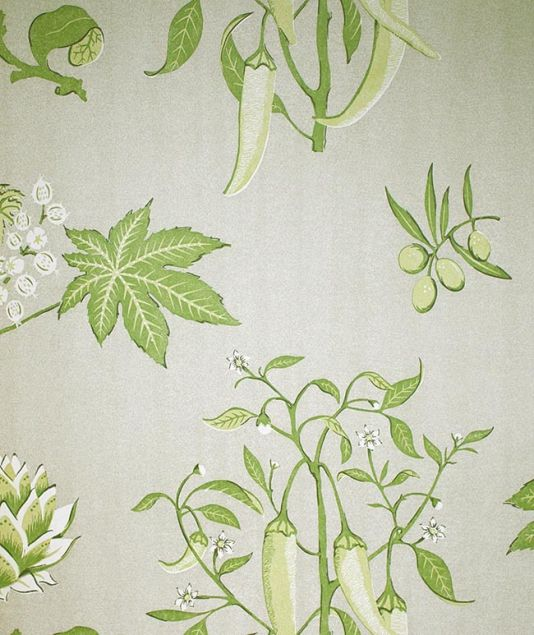 Chilli Peppers Wallpaper Stone With Plant And Leave Design In Green White