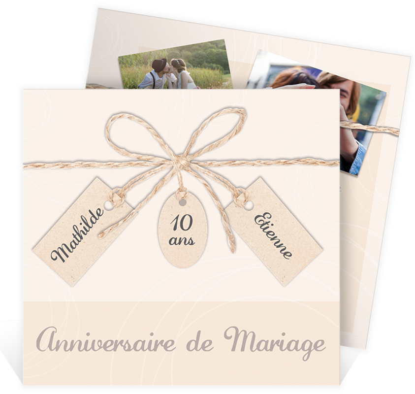 invitation anniversaire de mariage pour c l brer vos 10 ans de mariage avec un faire part pur e. Black Bedroom Furniture Sets. Home Design Ideas