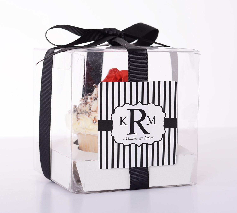Vintage Stripes - 20 COUNT Clear Wedding Favor Boxes | Favors ...