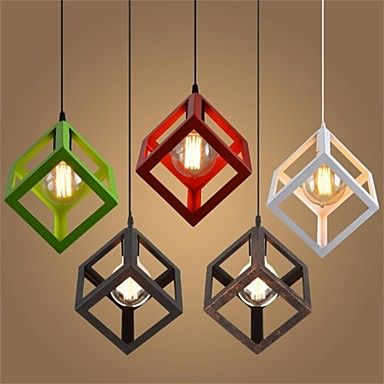 Cube Shaped Ceiling Lamp Candeeiros Rusticos Decoracao Banheiro
