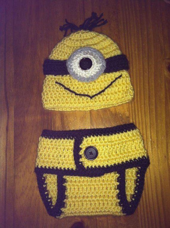 Crochet Newborn MINION Hat   Diaper Cover Set - PHOTO PROP ... bce7557608c8