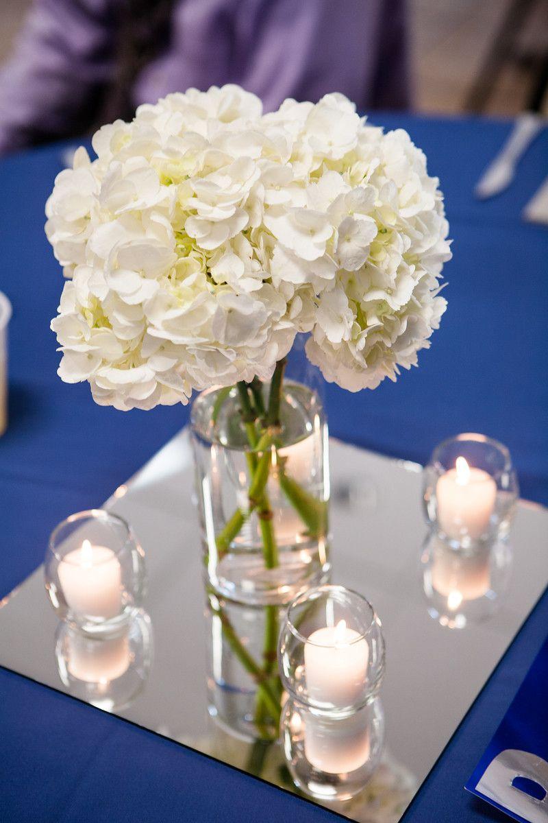 Simple wedding reception centerpieces white hydrangeas