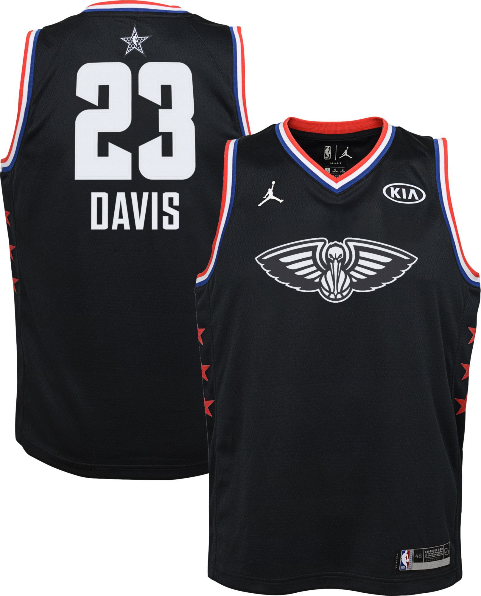 be41019ff6e Jordan Youth 2019 NBA All-Star Game Anthony Davis Black Dri-FIT Swingman  Jersey