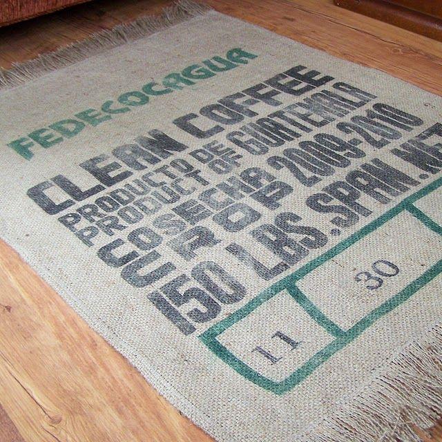 Diy Customize Some Plain Burlap Design Coffee Bag Rug Tutorial