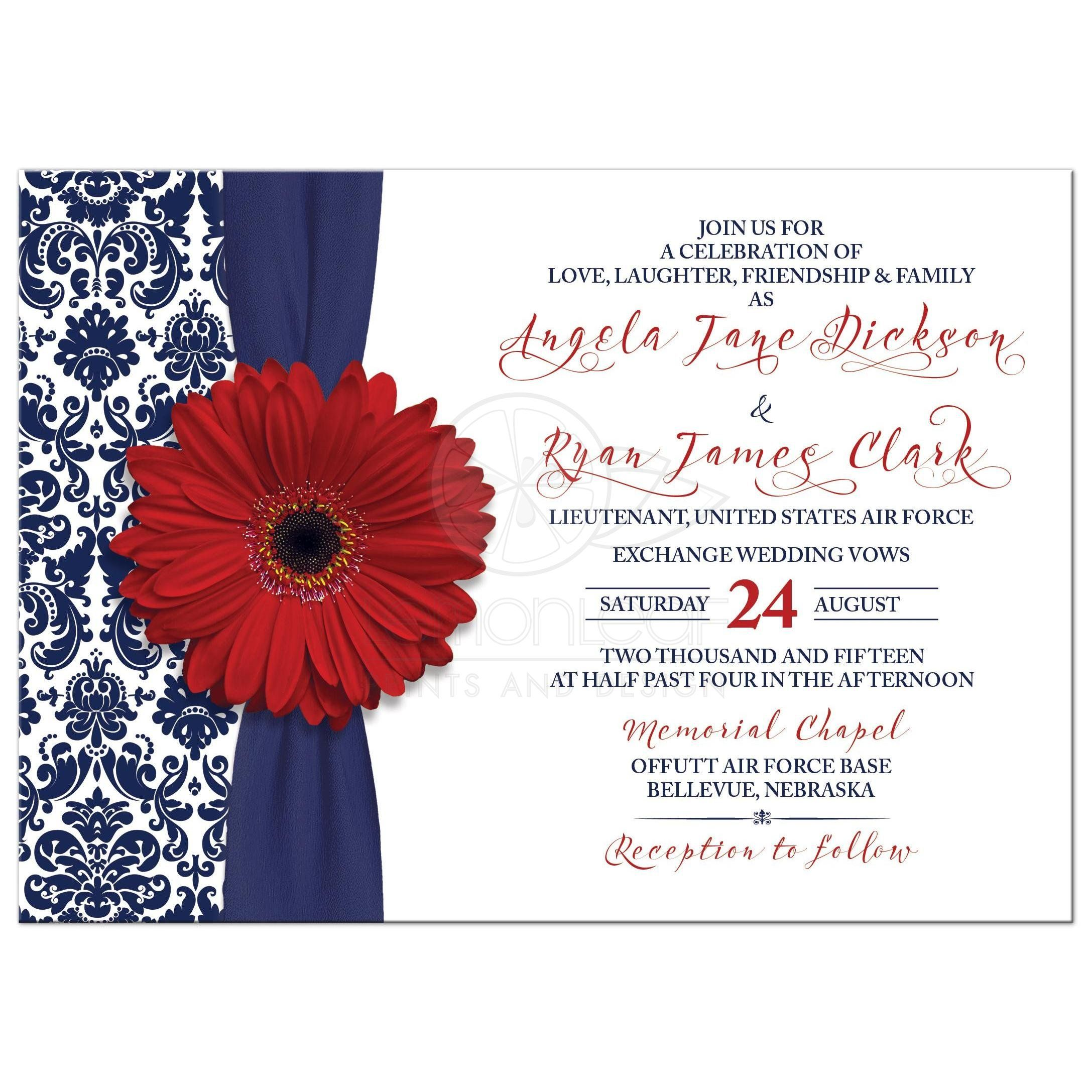 Wedding Invitation Military Red Gerber Daisy Navy Damask | Unique ...