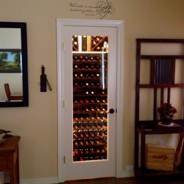 My entryway closet wine cellar replace door with glass for Wine cellar lighting ideas