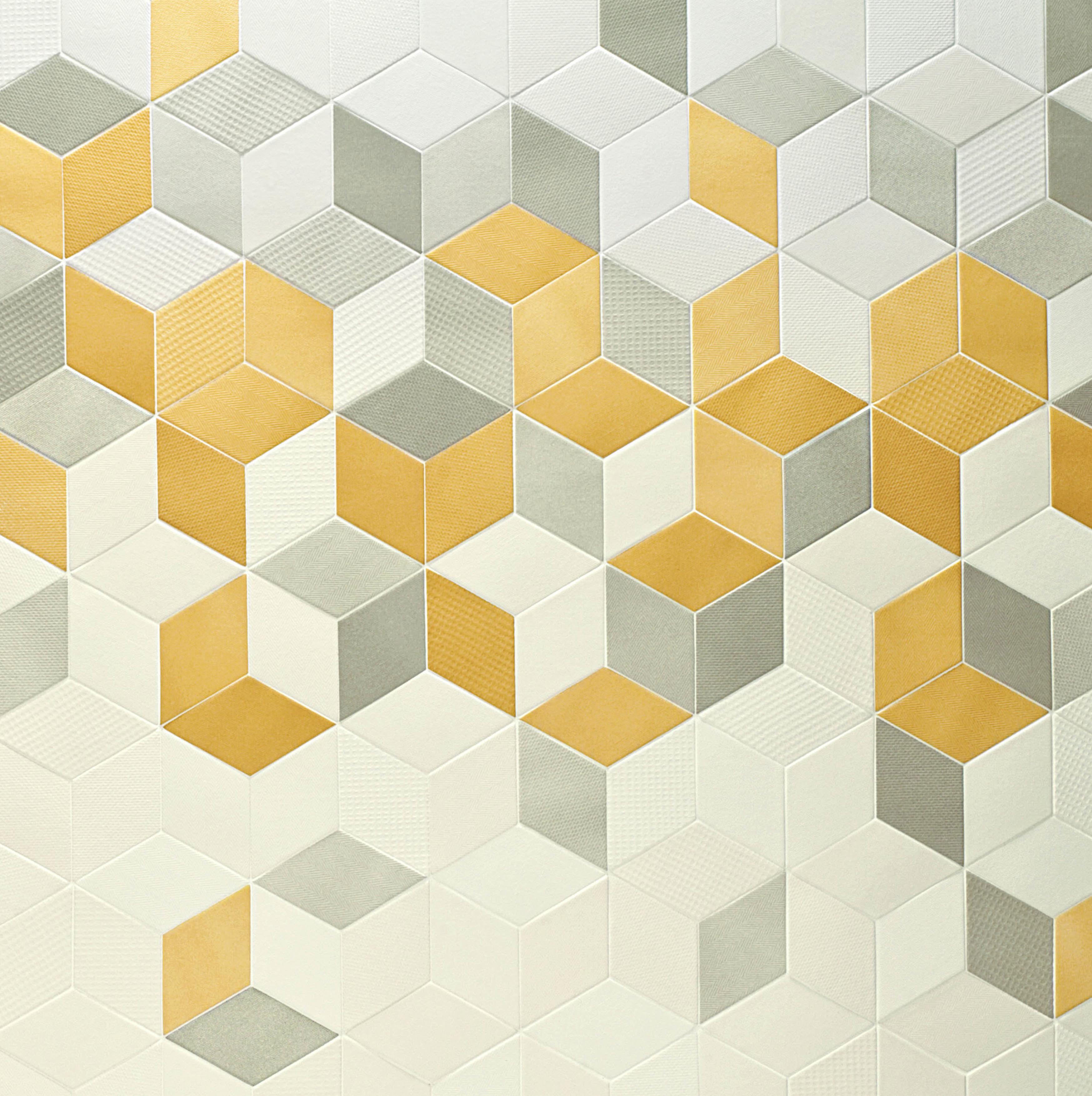 carrelage à effet cubes 3d tex de chez mutina design raw edge