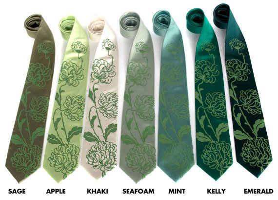 Custom Wedding Ties 7 Mens Neckties Shown In Chrysanthemum Print Microfiber Groomsmen Group Silkscreen Design
