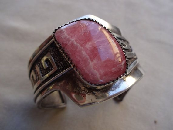 Pink Rhodochrosite Sterling silver Adjustable Cuff Bracelet Navajo Handmade