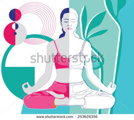 a woman meditating in lotus position with images  lotus