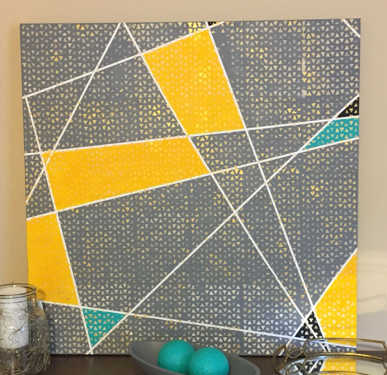DIY acrylic painting on canvas. I used thin painter\'s tape to create ...