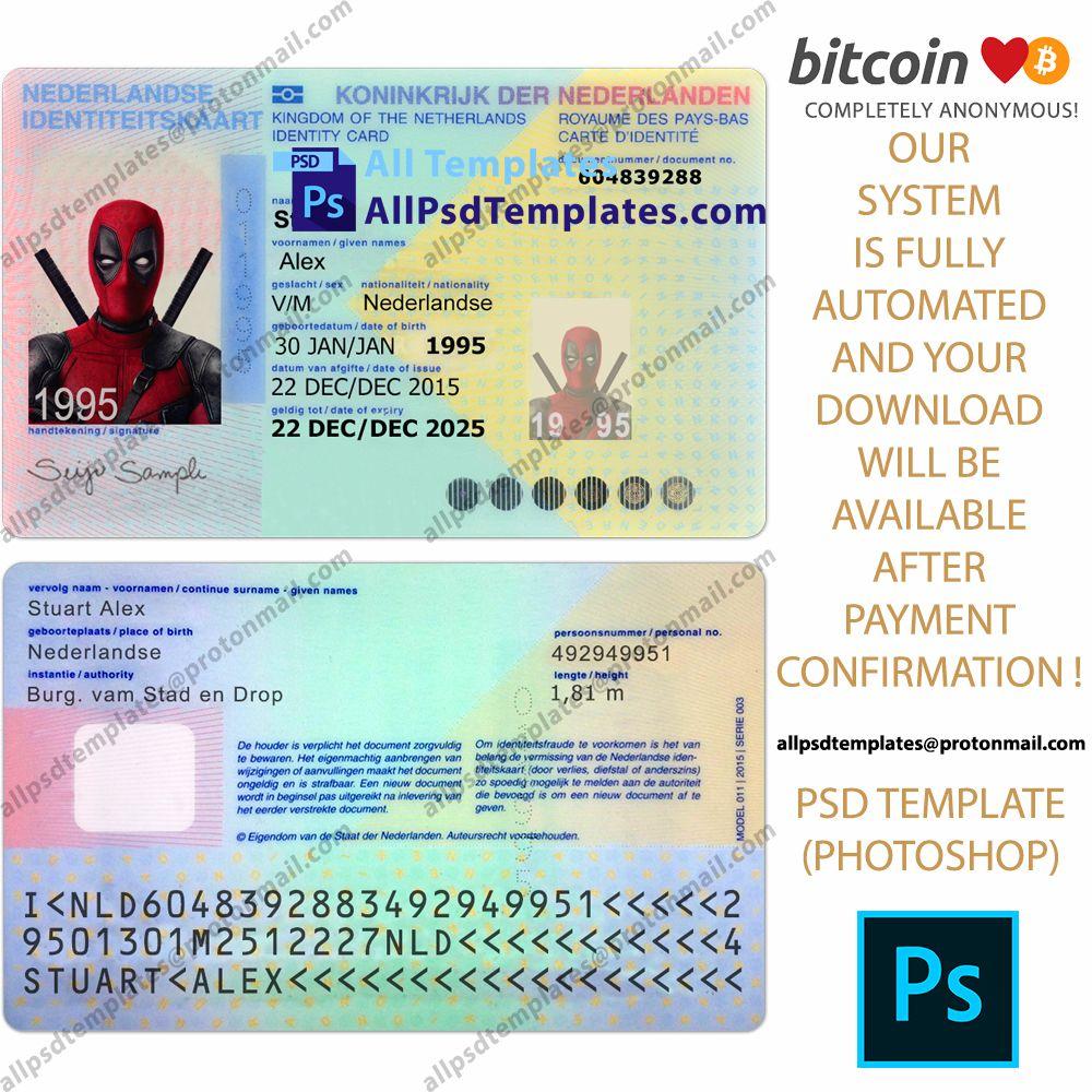 Netherland Id Card Template Id Card Template Card Template Templates