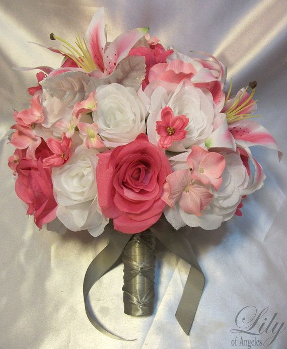 "17pcs Wedding Bridal Bouquet Flower Bride Decorationn Package FUCHSIA WHITE LILY ""Lily Of Angeles"" on Etsy, $199.99"