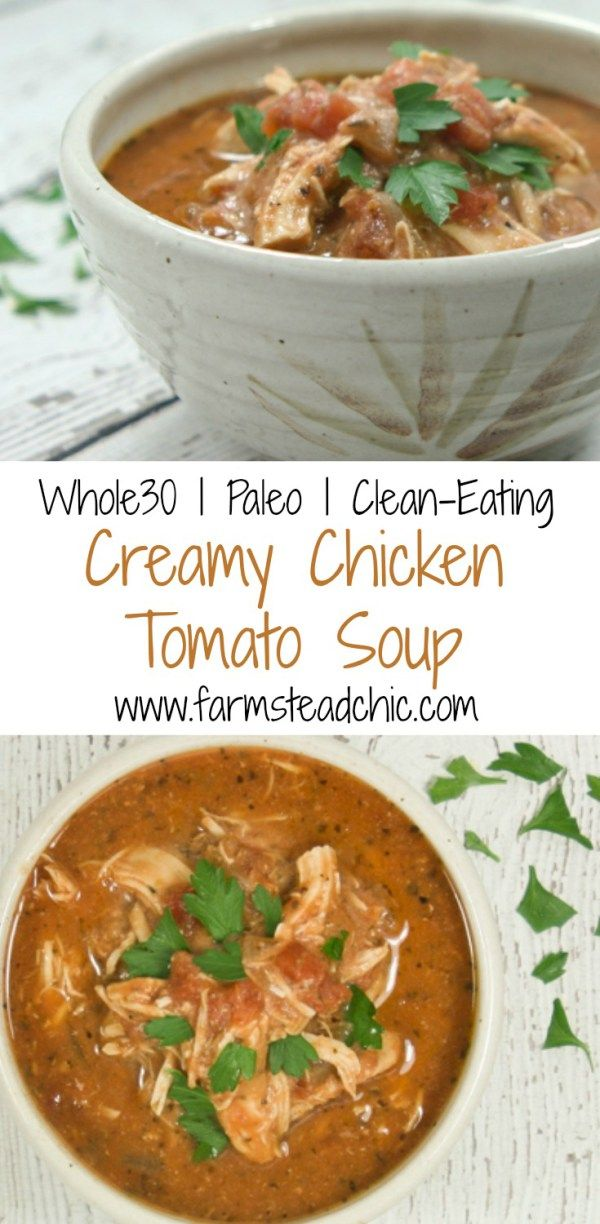 Take just 10 minutes to prep this Paleo & Whole30 Creamy Chicken Tomato Soup, and let your slow cooker do the rest! The perfect busy winter weeknight meal.