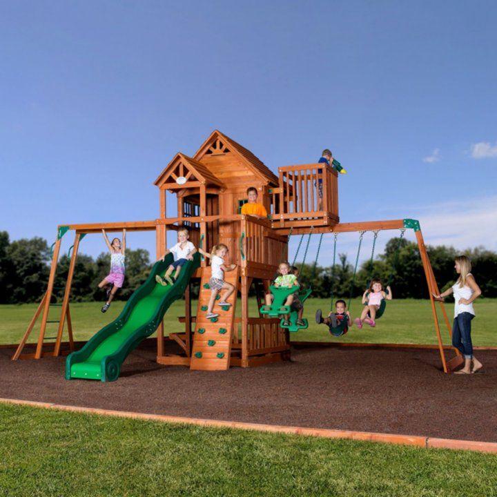 Backyard Discovery Skyfort II Cedar Swing Set/Play Set ... on Backyard Discovery Pavilion id=27062
