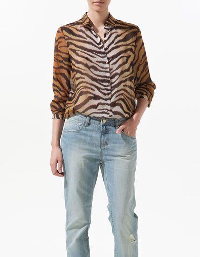 a61a4845c63d73 ANIMAL PRINT CHIFFON BLOUSE - Shirts - Woman - ZARA Canada