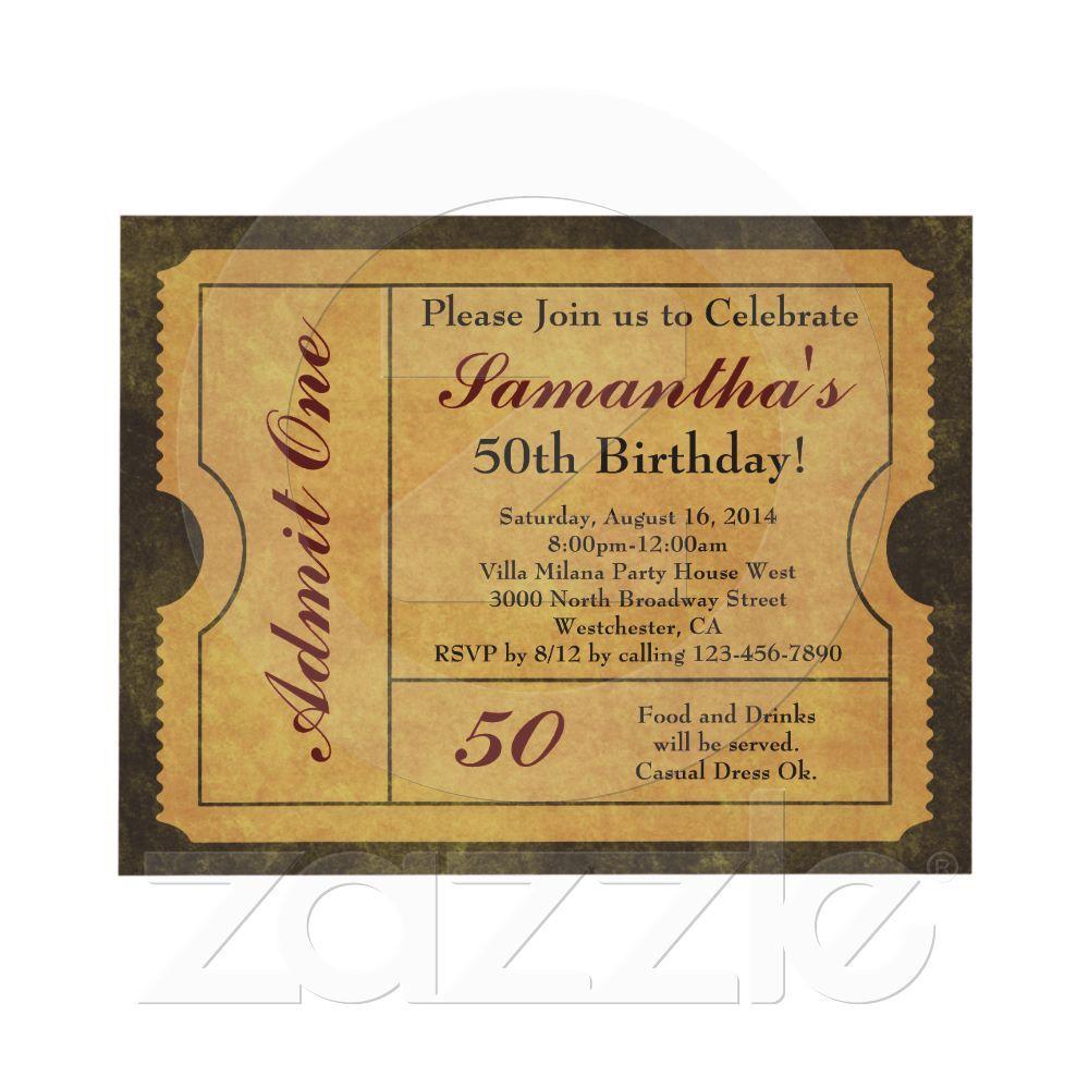 Movie/Cinema/Admission Ticket Birthday Party Invitations | Fun ...