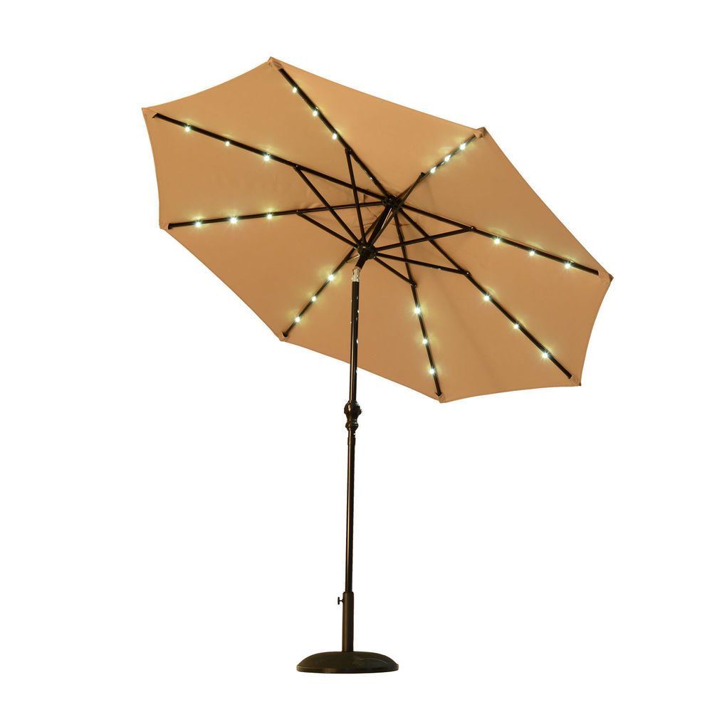 Patio Umbrella Solar Lights Led Lighted Canopy Steel Water Resistant Sun Shade