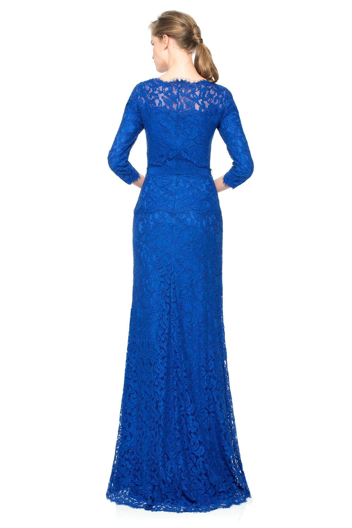 Tadashi Shoji - Illusion Lace 3/4 Sleeve Gown with Grosgrain Ribbon ...