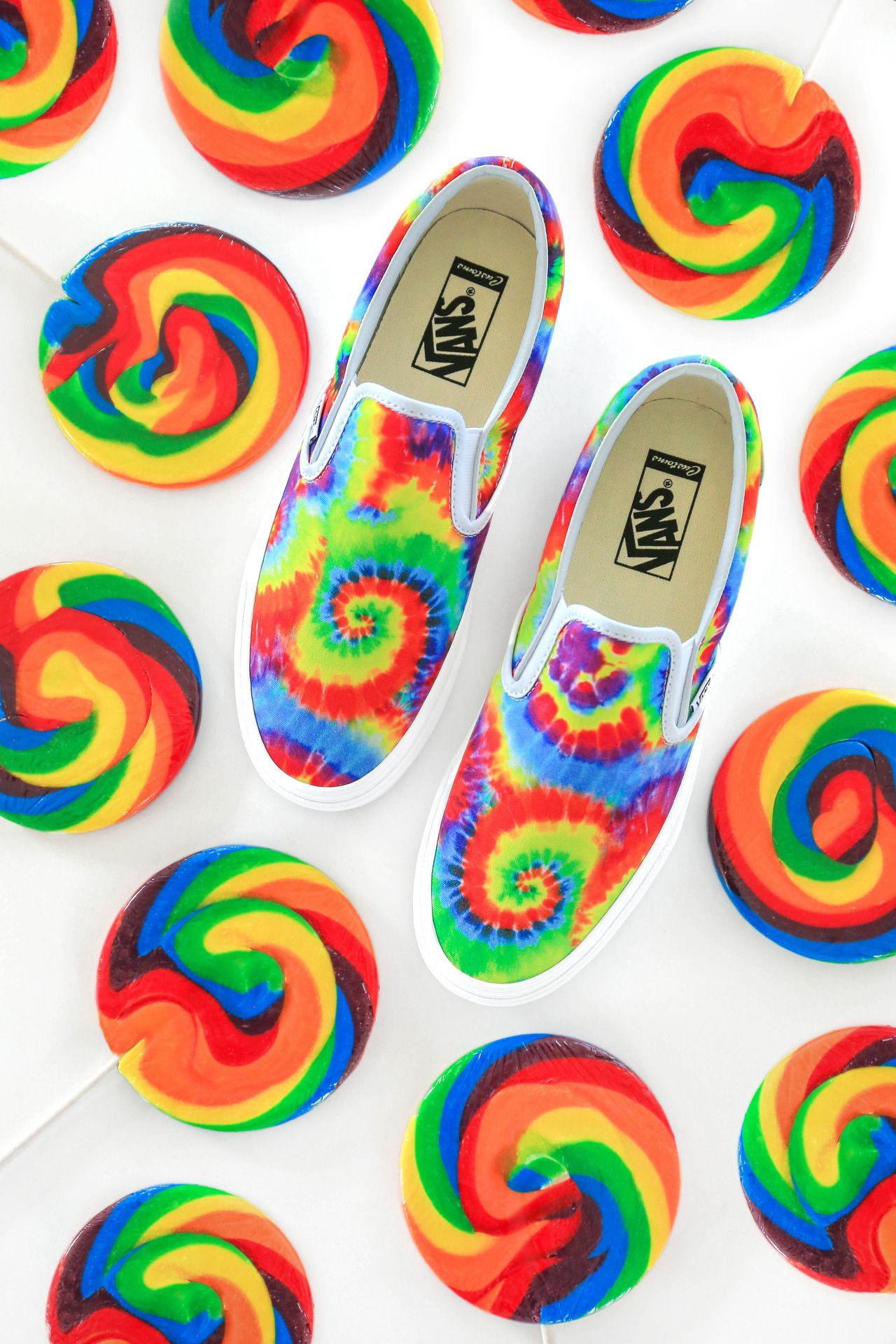 rainbow tie dye vans slip on