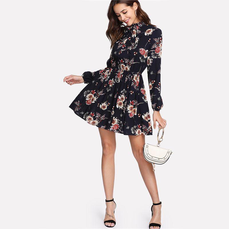 Shein Fl Women Dresses Multicolor Elegant Long Sleeve High Waist A Line Dress Las Tie Neck Flower Print