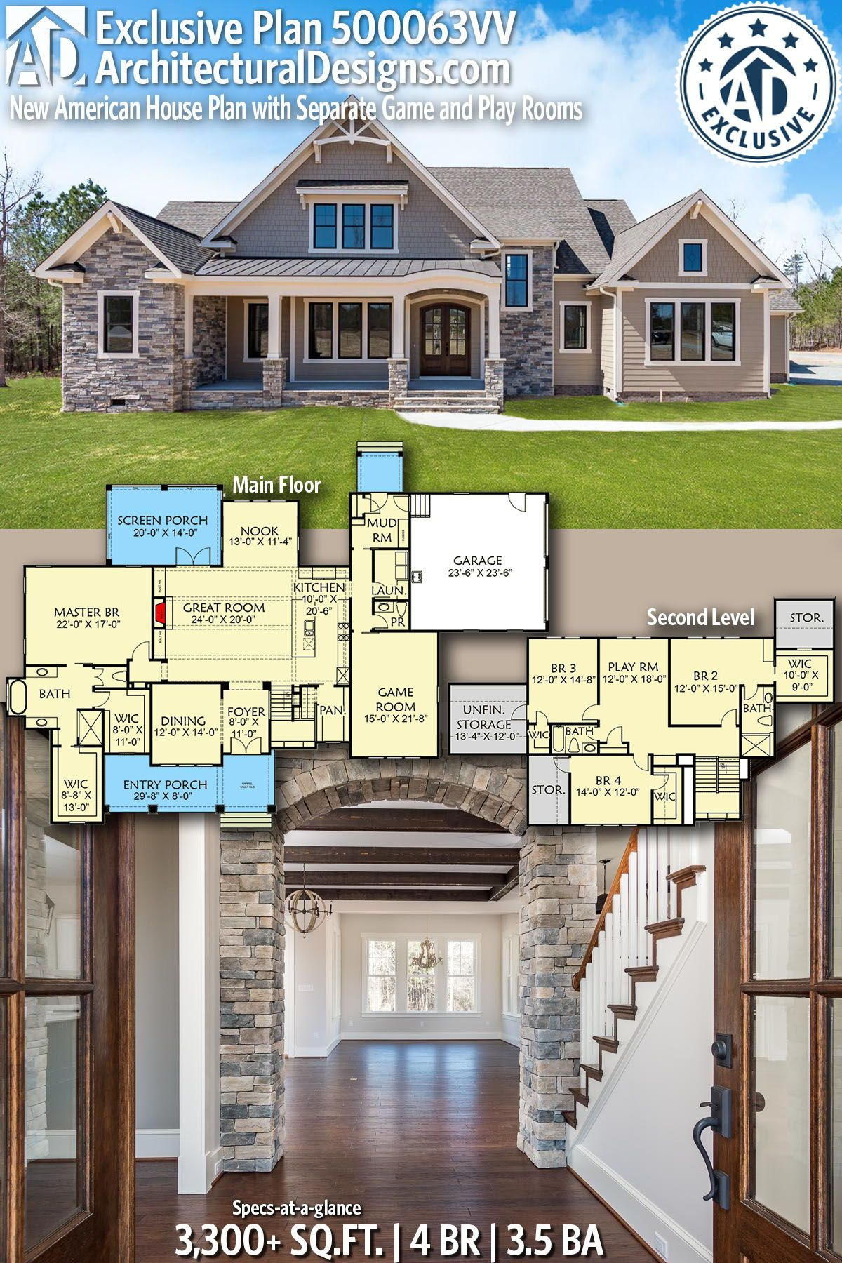 Plan 500063vv New American House Plan With Separate Game And Play Rooms Craftsman House Plans House Plans Farmhouse American Houses