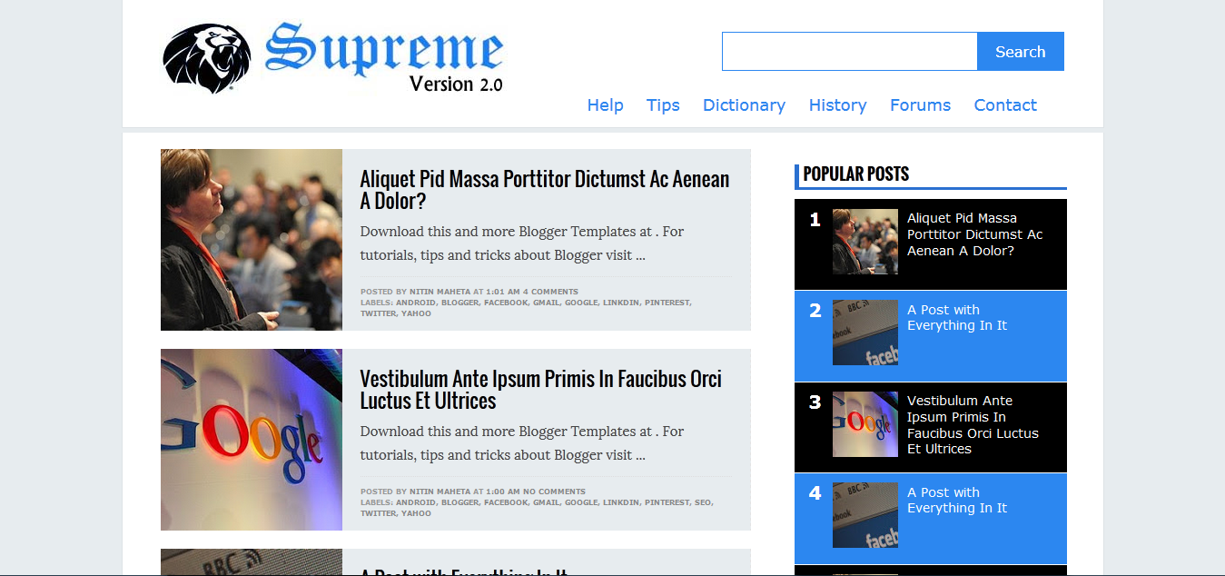 Supreme V2 ( Version 2) Responsive Blogger Template Download for ...