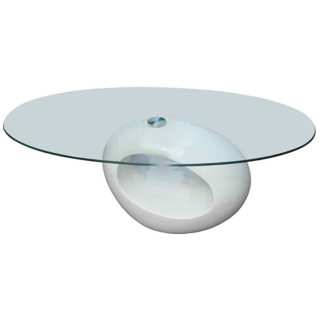 tablette blanc Table en vidaXL avec ovale 240318 verre basse UqSMVpz