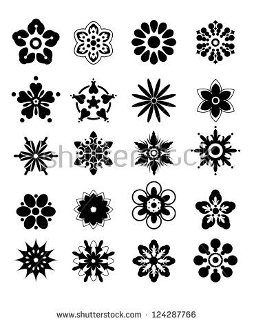 flower silhouettes | Silhouettes Of Flowers-Flowers For Decoration And Design Stock Vector ...
