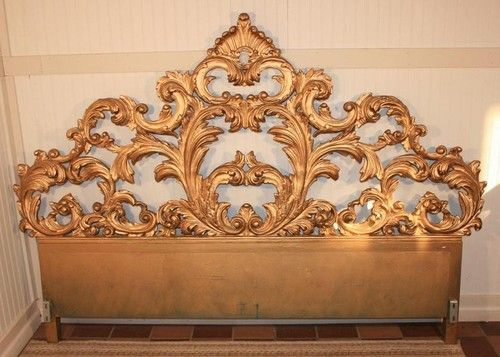 Fancy Vintage Carved Wood Rococo Style Hollywood Regency King Size
