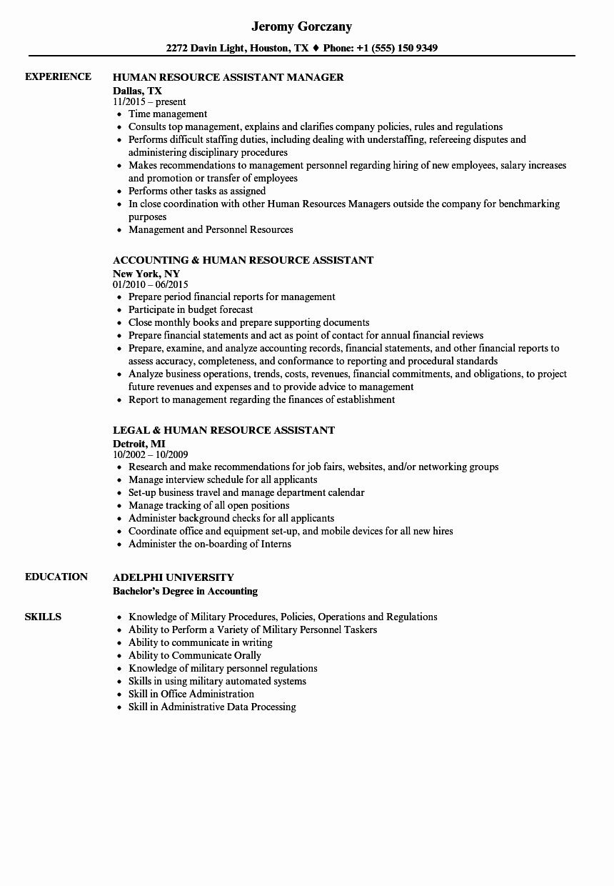 25 Human Resources assistant Resume (With images) Job