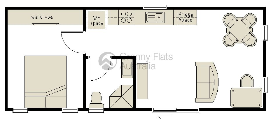 Charming Granny Flats Floor Plans | 1 Bedroom Granny Flat Floor Plans | House Plans