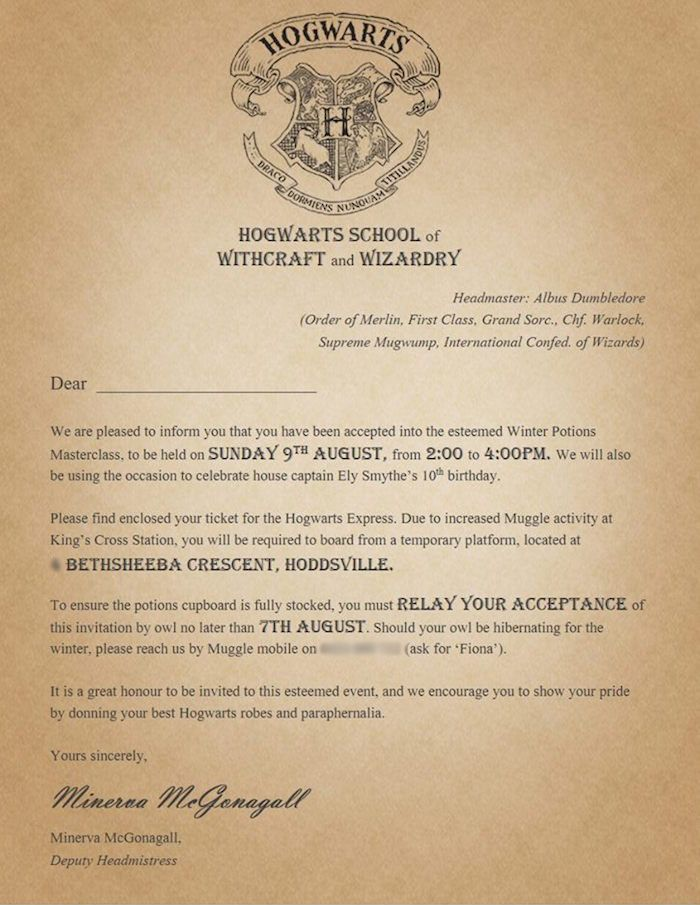 Free downloads to create your own Harry Potter party invitations - formal invitation letter for event