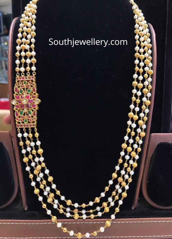 22k Gold Chandraharam With Side Billa Photo 22 Carat Gold Jewellery Gold Jewelry Fashion Pearl Necklace Designs
