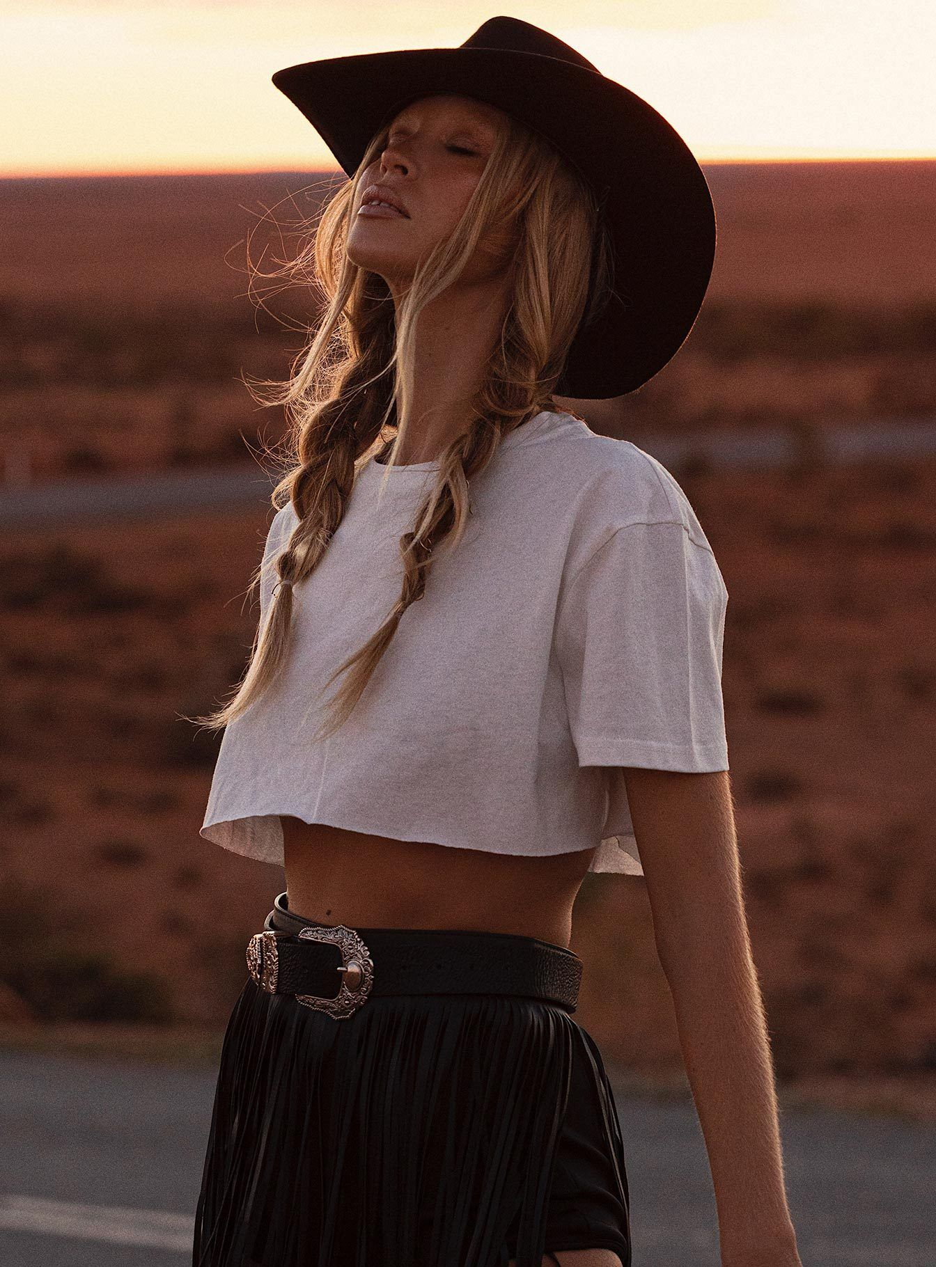 Mccaul Crop Tee White US 0 / White Outfits with hats