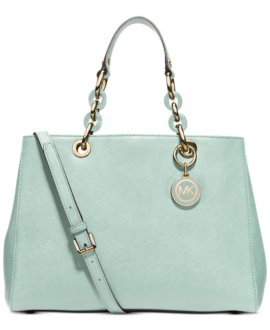 2b2df52c1f56d6 ... NWT Michael Kors Saffiano Leather Medium Cynthia NS Satchel Purse ~Pale  Pink Clothing, Shoes