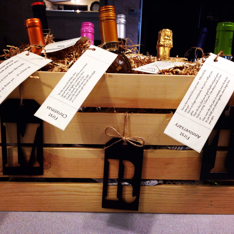 Wine basket wedding present successful pins diy pinterest