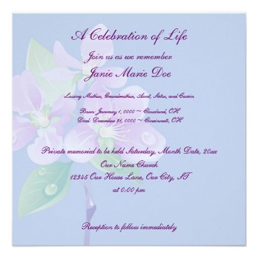 Celebrate Life Memorial Service Template Blank Invitations To