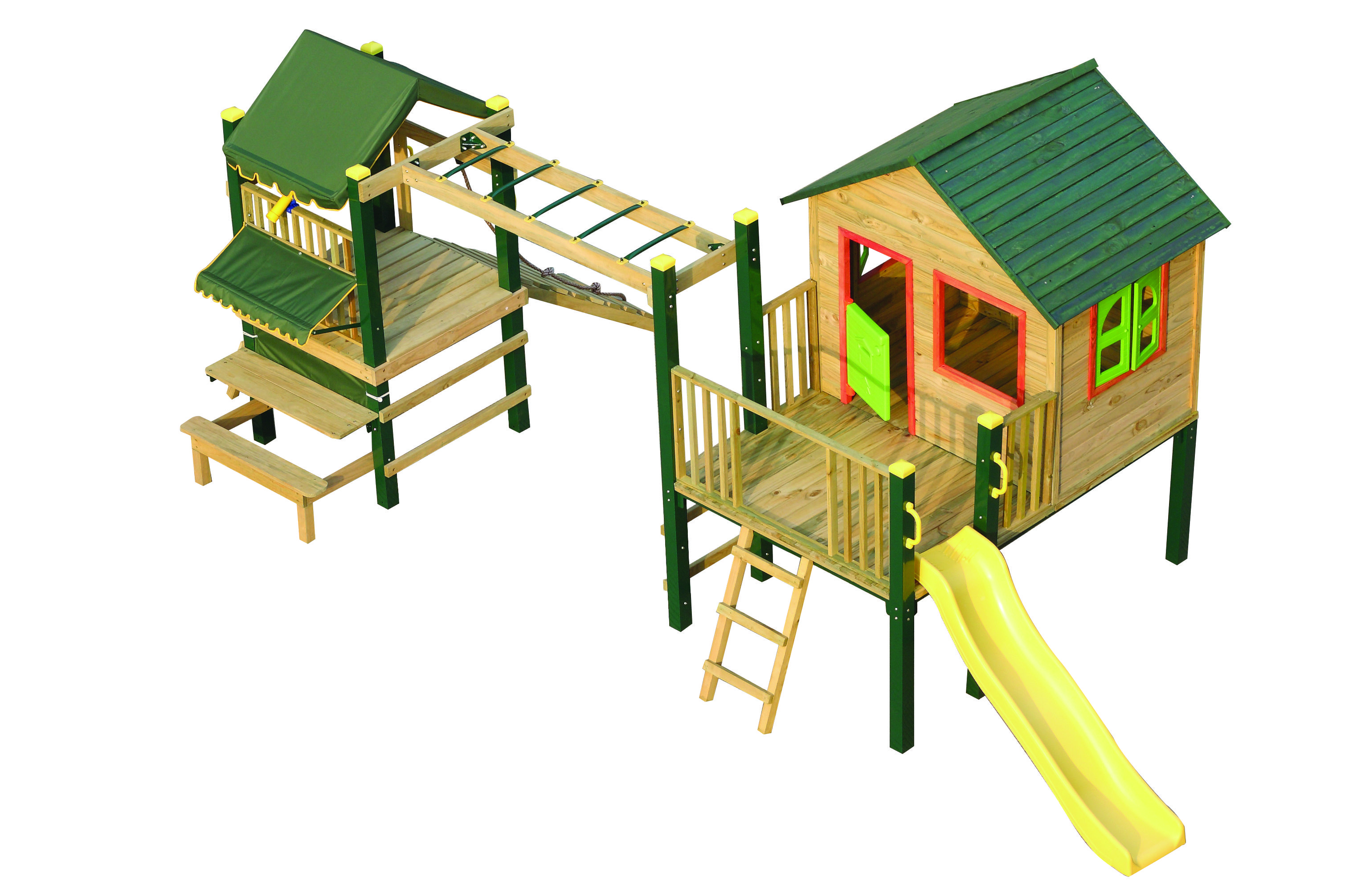 Swing Slide Climb Pandora Multiplay Timber Playhouse  Bunnings Warehouse