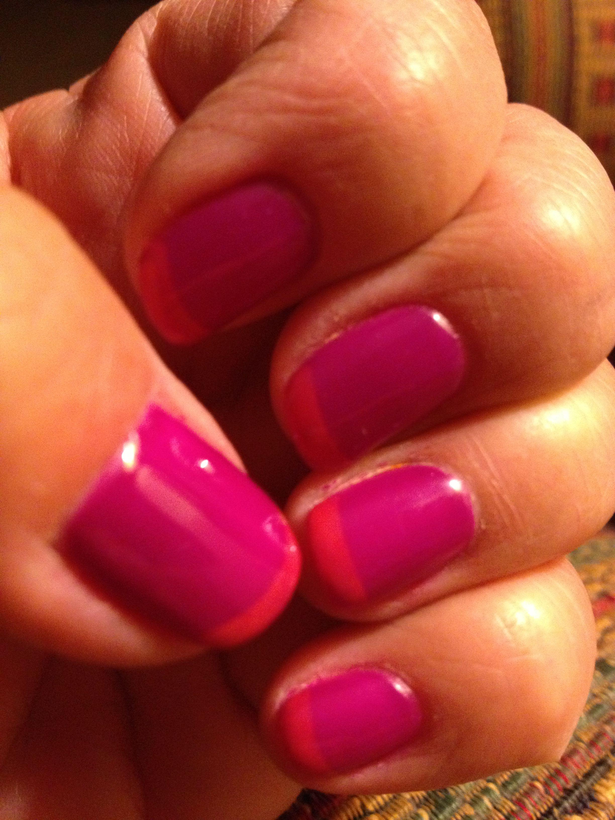 Fun summer French Mani....pink and neon orange! Loving it!