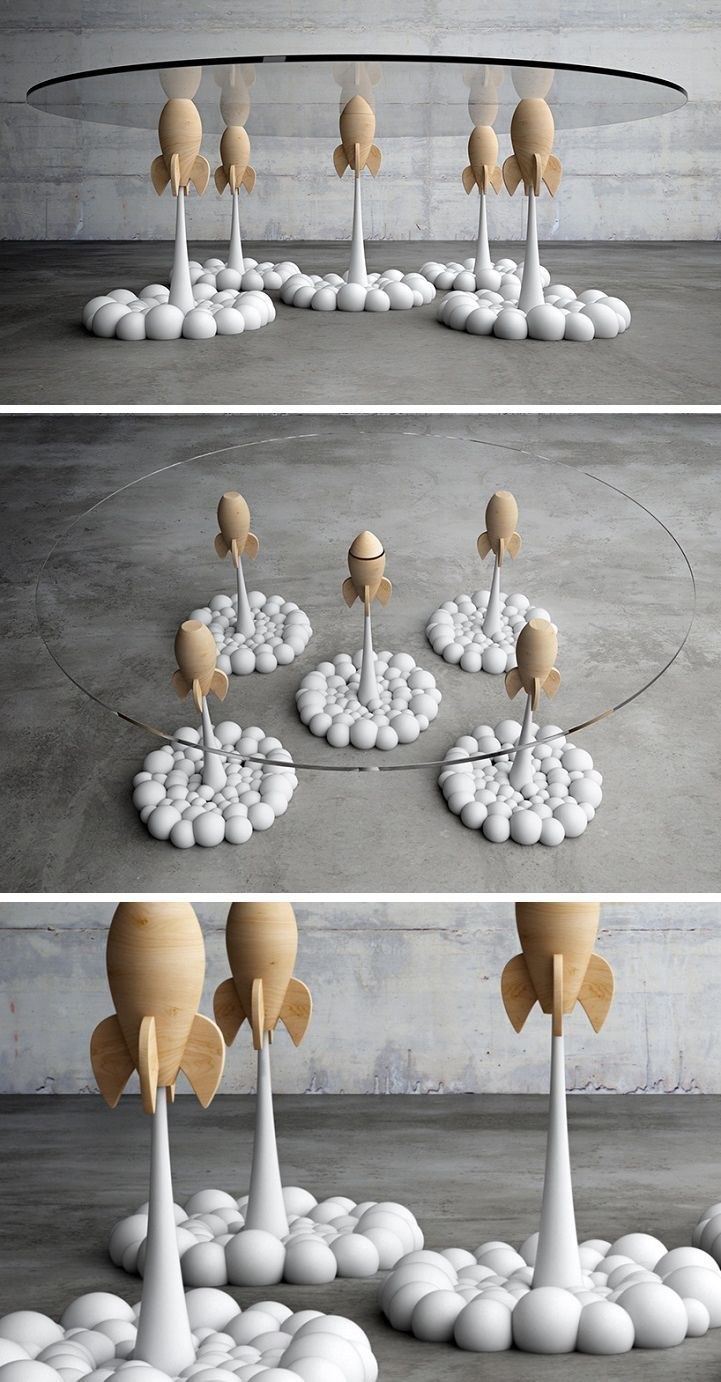 Whimsical rocket coffee table uses playful design for for Fun chairs for adults