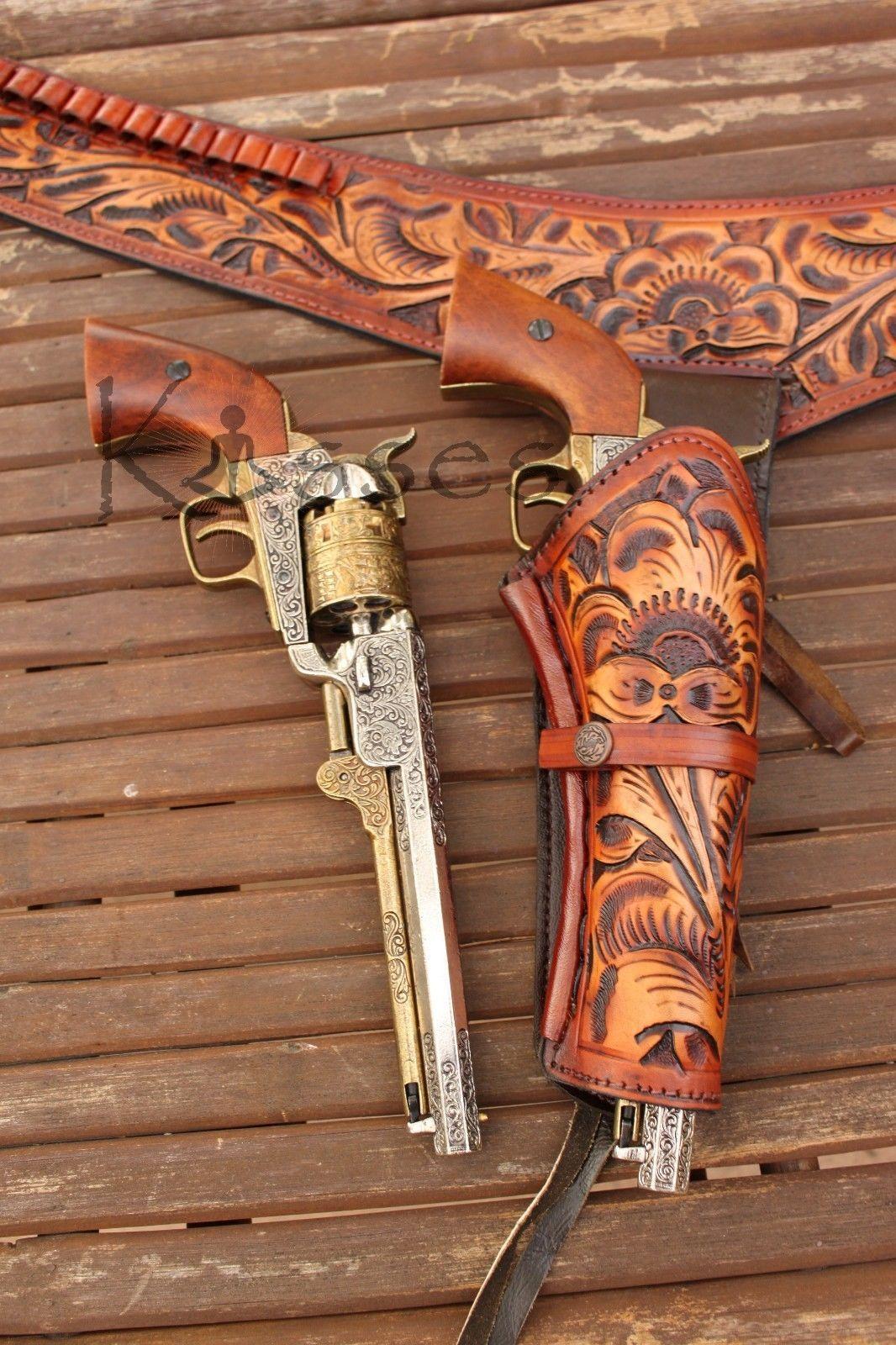 Nuevo 44 45 Cal Con Herramientas Cartuchera Pistola Cinturón Gota Lazo de  Cuero Occidental Rig Sass 36