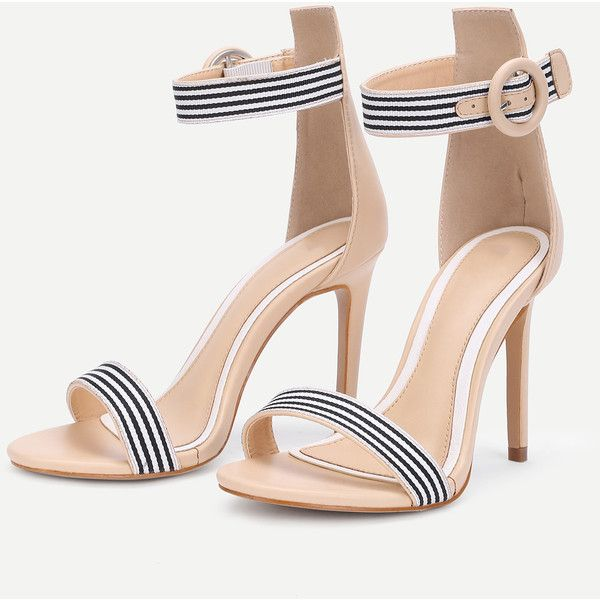 795fc0ada1e SheIn(sheinside) Striped Design Two Part Heeled Sandals ( 32) ❤ liked on  Polyvore featuring shoes